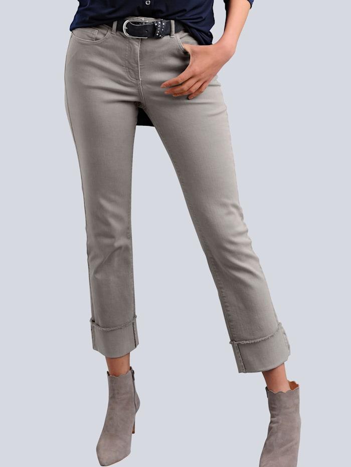Alba Moda Jeans mit modisch abgesteppter Fransenkante am Saumaufschlag, Taupe