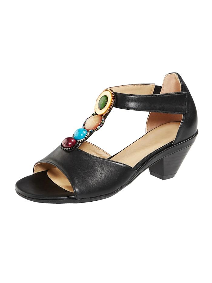 Liva Loop Sandale mit farbiger Schmuckapplikation, Schwarz