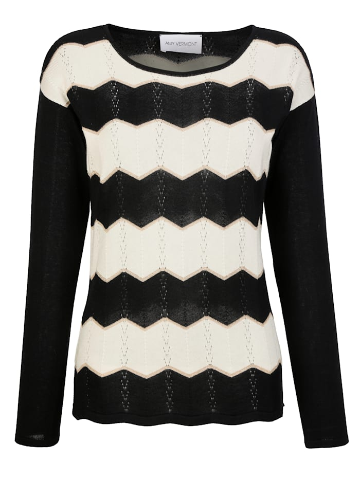 Pullover mit Zick-Zack-Streifen und Ajourmuster