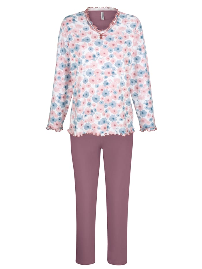 Comtessa Pyjama Cotton made in Africa -puuvillaa, ruusupuu/valkoinen/farkunsininen