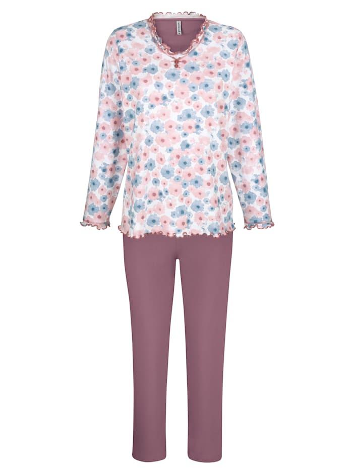 """Comtessa Pyjama en coton issu de l'initiative """"Cotton made in Africa"""", Bois de rose/Blanc/Bleu ciel"""