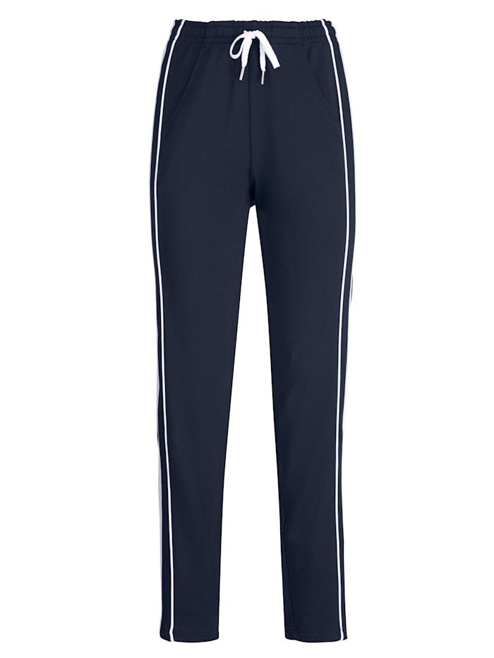 Blue Moon Pantalon de loisirs à passepoilcontrastant, Marine/Blanc