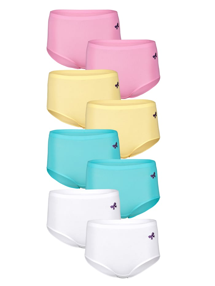 Harmony Culottes par lot de 8 à taille ultra haute, Rose/Jaune/Turquoise/Blanc