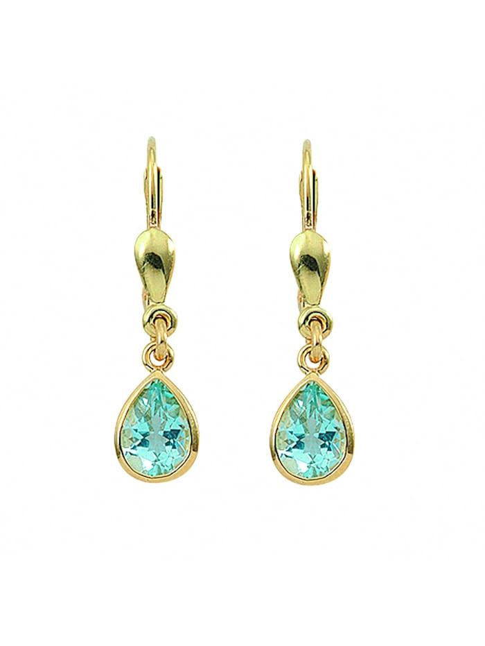 1001 Diamonds Damen Goldschmuck 585 Gold Ohrringe / Ohrhänger mit Aquamarin, blau