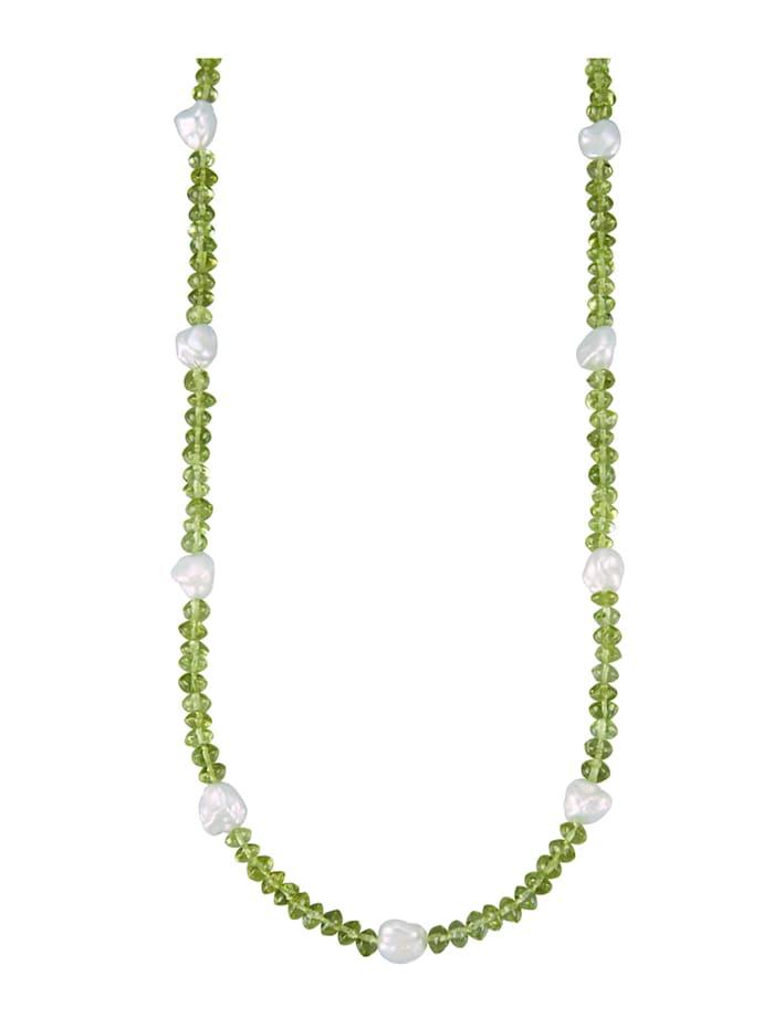Amara Pierres colorées Collier en argent 925, Vert