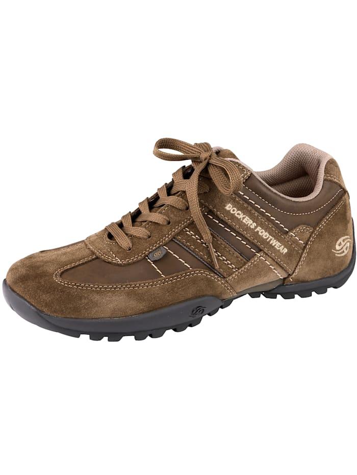 Dockers Šnurovacia obuv z harmonickej kombinácie nubukovej/velúrovej kože, Hnedá
