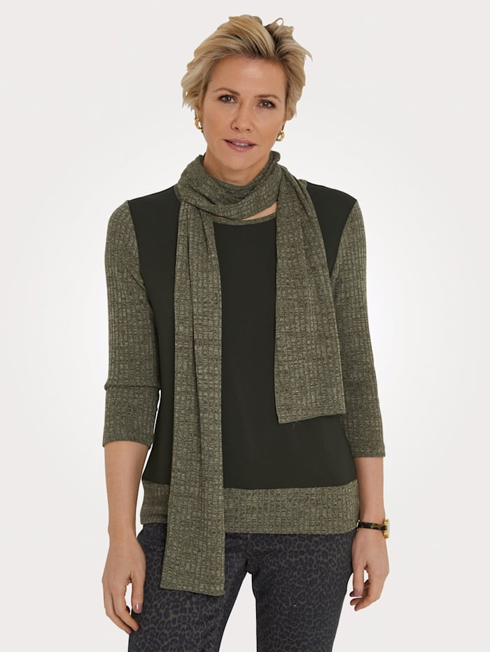 MONA Top with scarf in a versatile design, Olive/Khaki