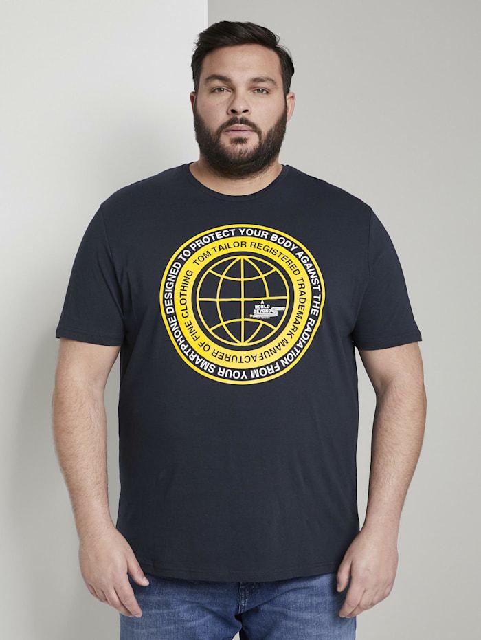 Tom Tailor Men Plus T-Shirt mit Print, Sky Captain Blue