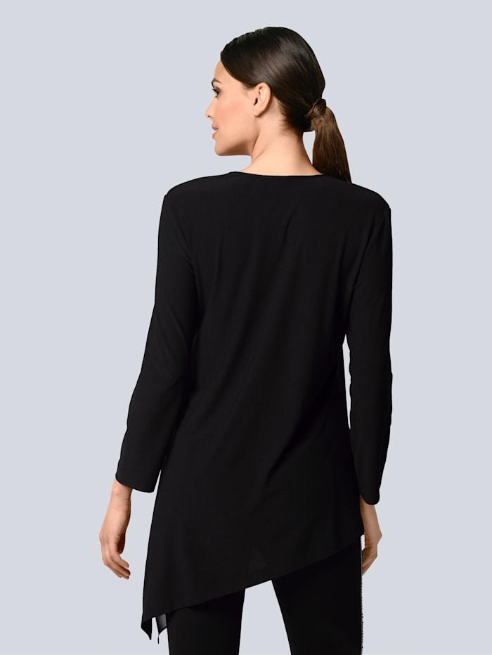 Shirt mit asymmetrischem Web-Einsatz am Saum