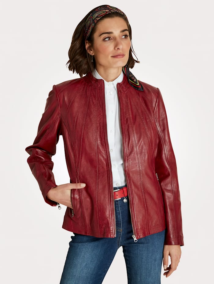 MONA Leather jacket in a classic design, Red