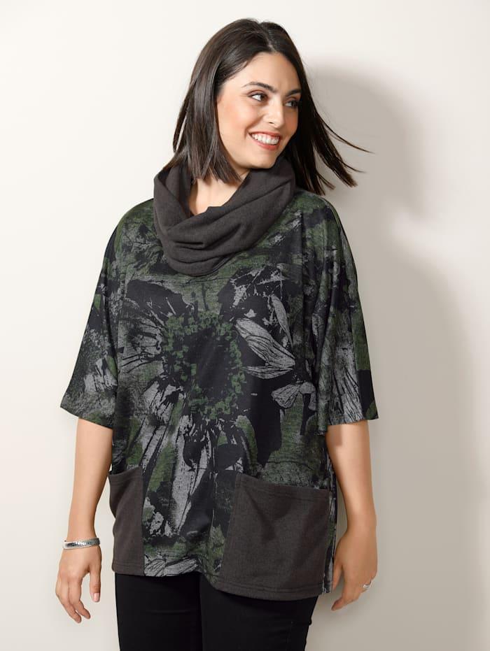 MIAMODA Set: Shirt&Schal mit praktischen Taschen, Grün
