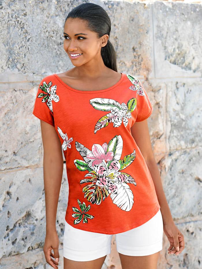 Alba Moda Shirt mit Glitzersteinen, koralle-bunt