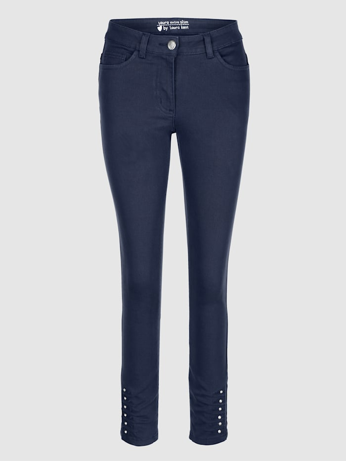 Laura Kent Jeans met siersteentjes aan de zoom, Marine