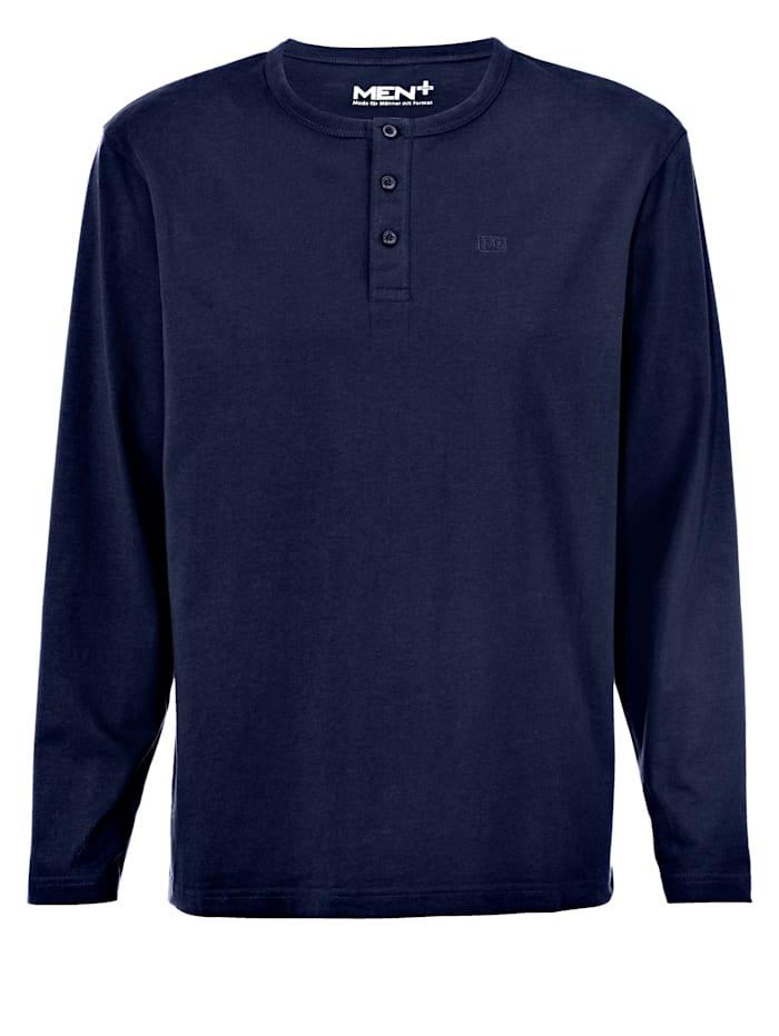 Men Plus Henleyshirt mit Knopfleiste, Marineblau