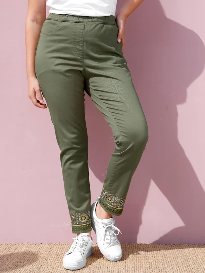 MIAMODA Hose mit modischer Stickerei am Saum, Khaki