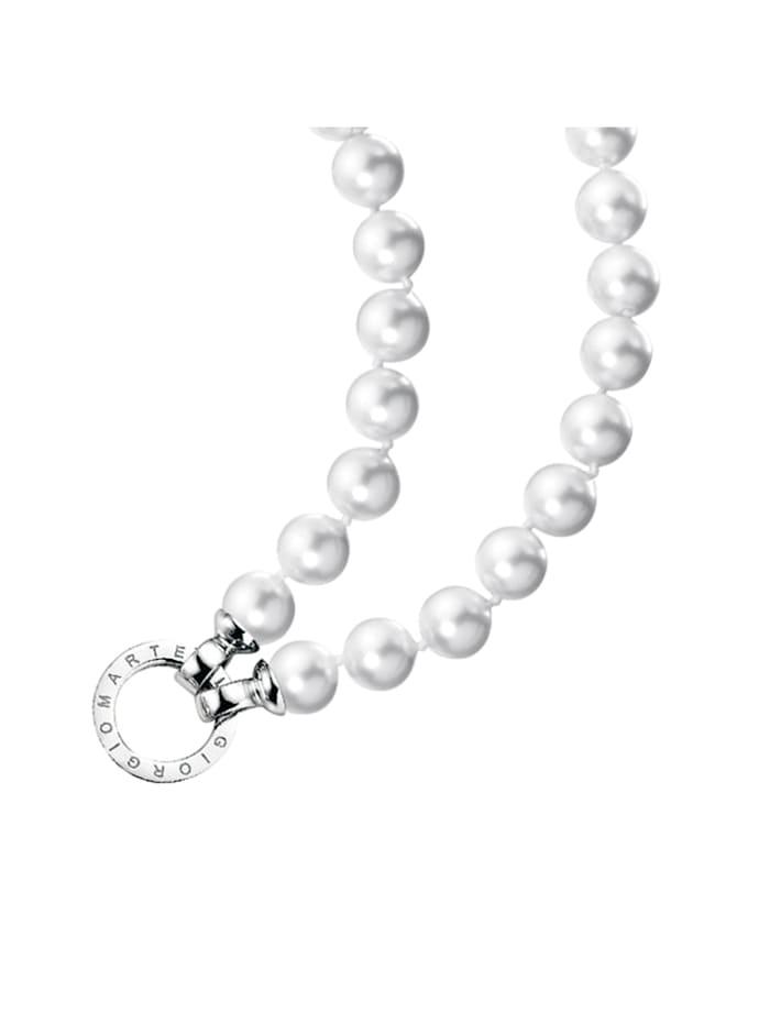 Giorgio Martello Kette Muschelkern Perlen, Ringverschluss, Silber 925, Weiss