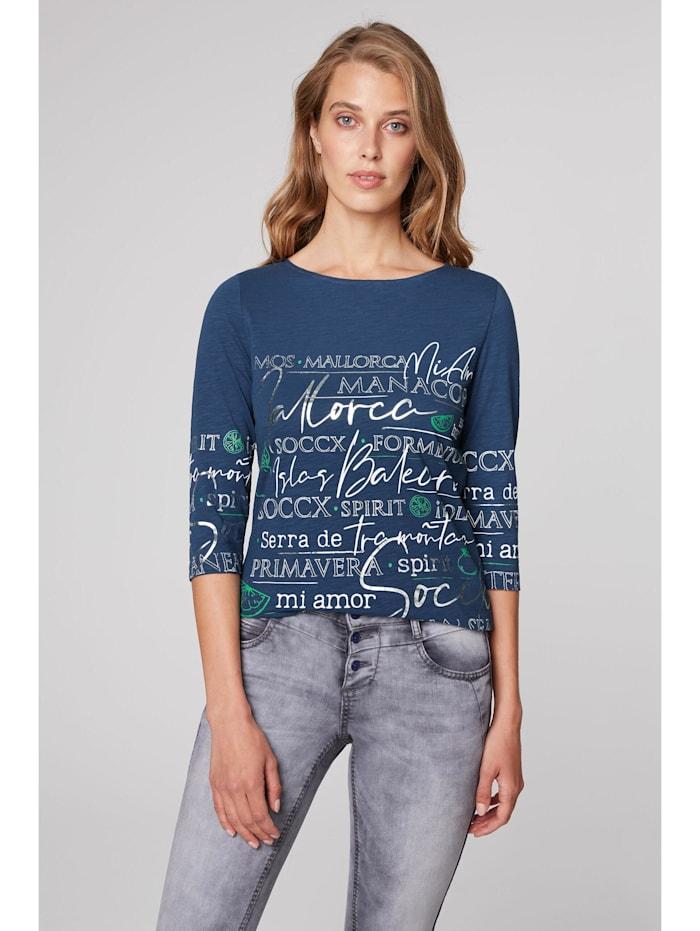 SOCCX Shirt mit U-Boot-Ausschnitt und Artwork, blue soul