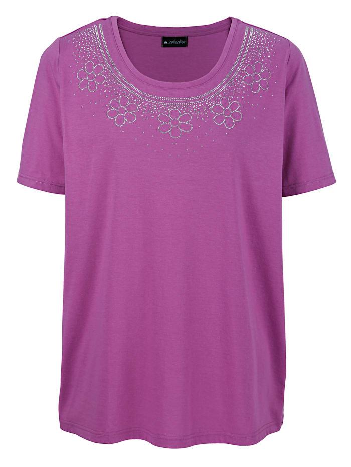 m. collection Tričko s dekorativními prvky na výstřihu, Pink