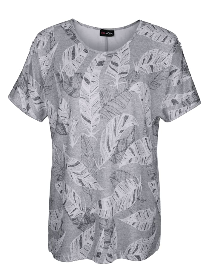 MIAMODA Shirt mit dezentem Blätterdruck, Grau/Weiß
