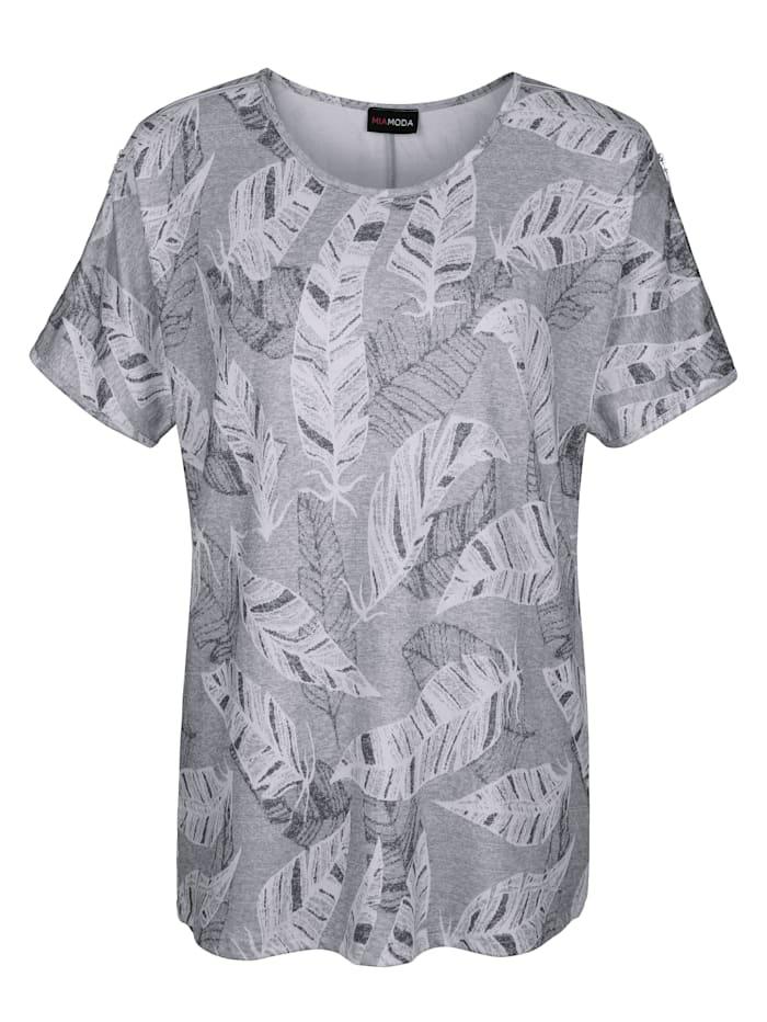 Shirt met subtiele bladerenprint