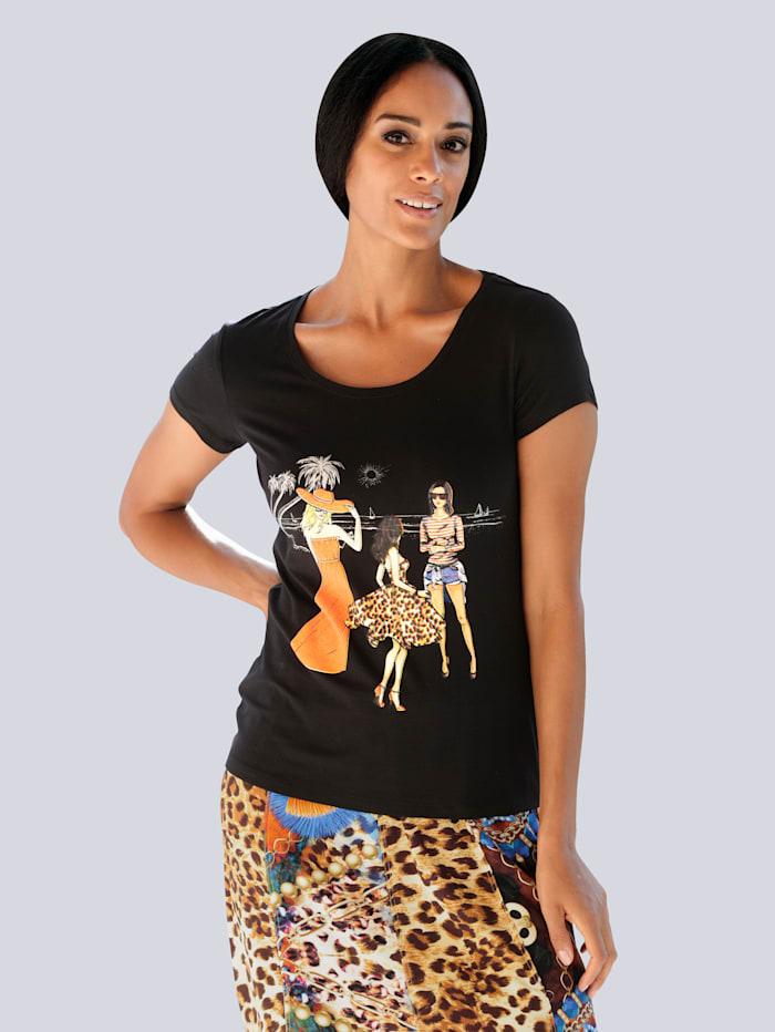 Alba Moda Strandshirt mit Motiv, Schwarz