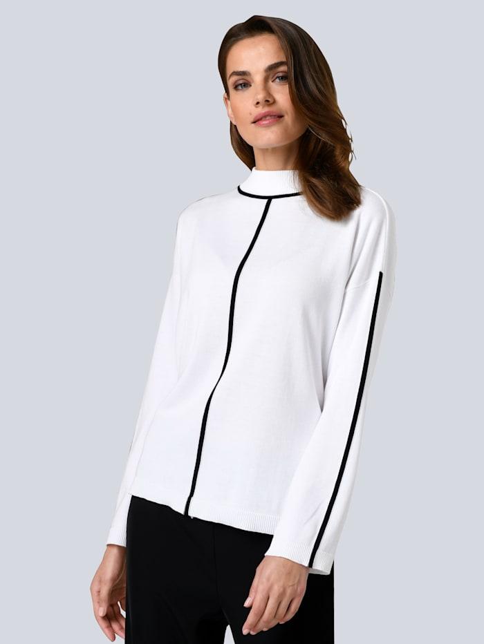 Alba Moda Pullover mit gestrickter Kontrast-Paspel, Off-white/Schwarz