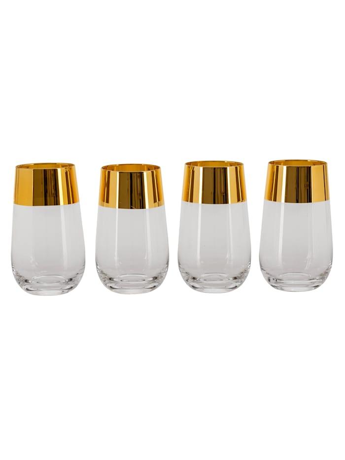 IMPRESSIONEN living Glas-Set, 4-tlg., klar/goldfarben