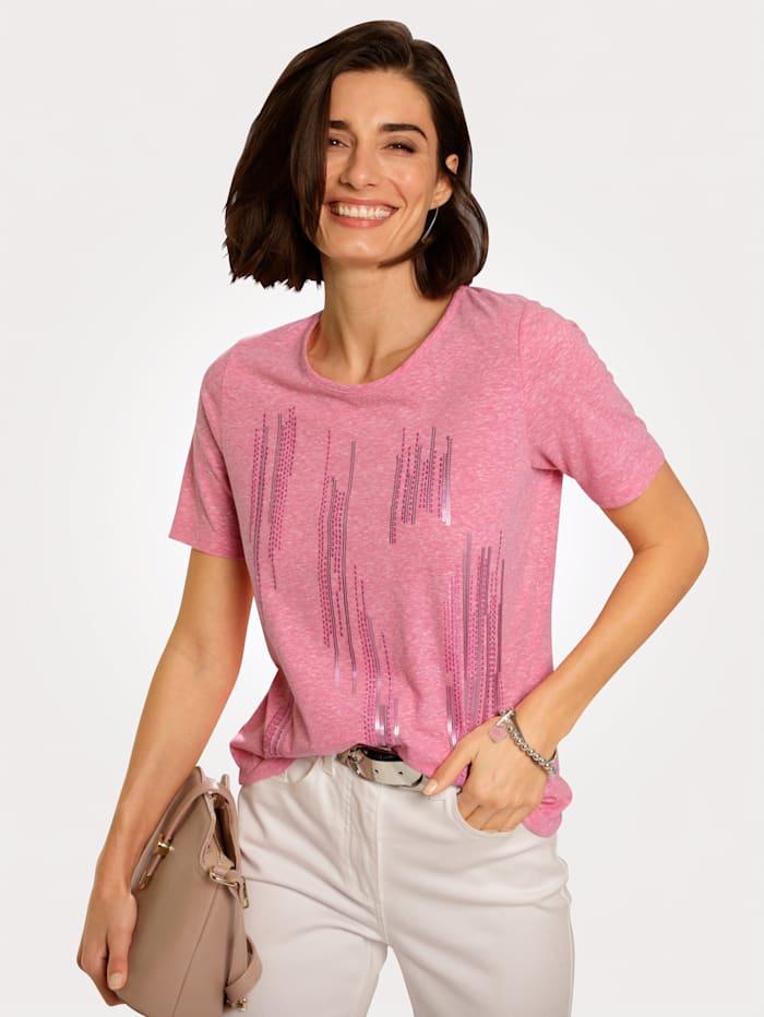 MONA Shirt mit platzierter Stickerei in Streifenoptik, Rosé