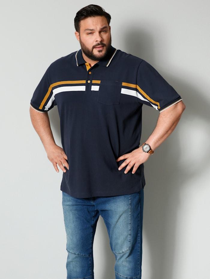 Men Plus Poloshirt aus reiner Baumwolle, Marineblau/Maisgelb