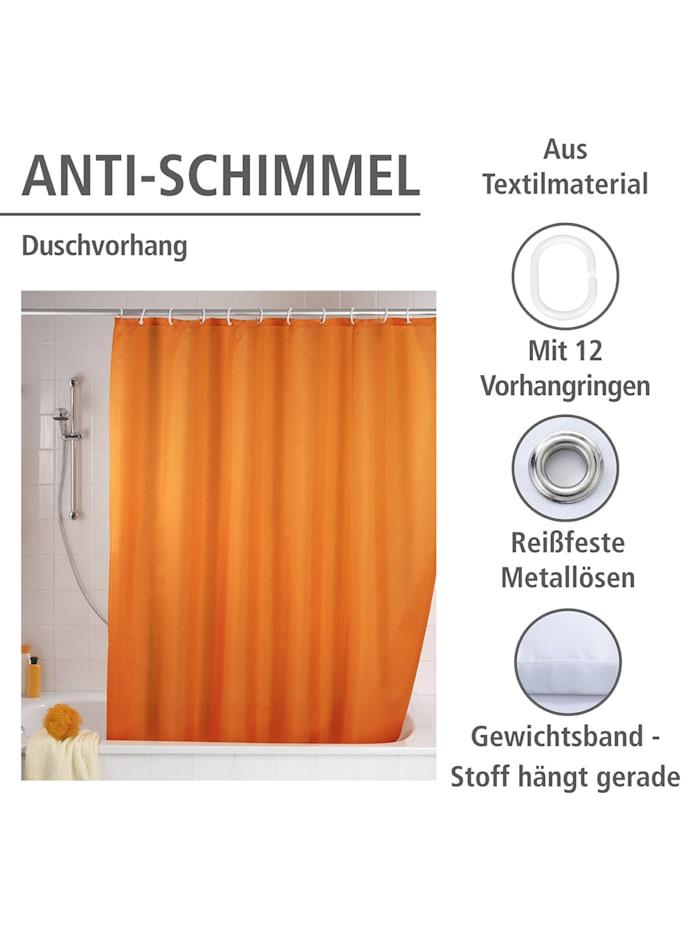 Anti-Schimmel Duschvorhang Uni Orange, Textil (Polyester), 180 x 200 cm, waschbar