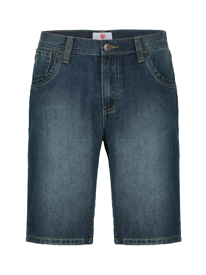 Boston Park Shorts med lätt tvättade effekter, Blue stone