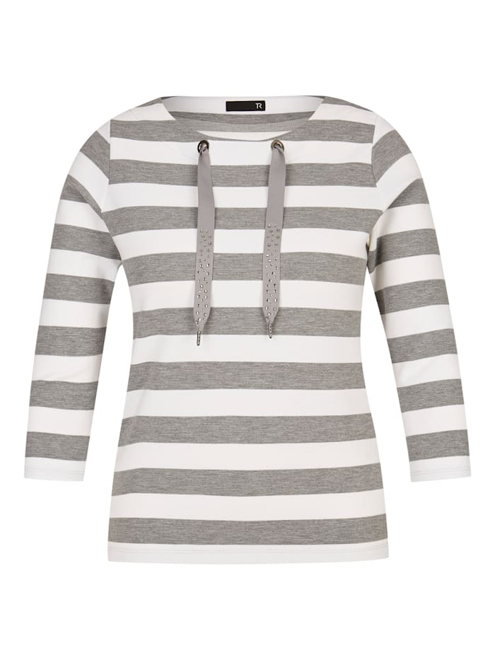 Thomas Rabe Shirt mit Ringelmuster und ¾-Ärmeln, ANTHRAZIT