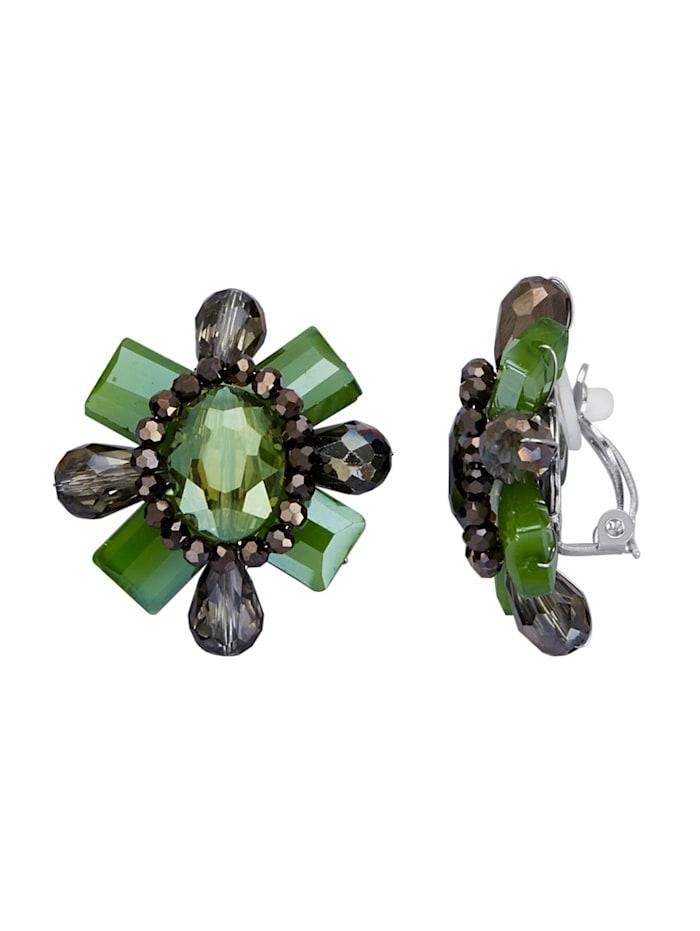 Ohrclips mit Glassteinen, Grün