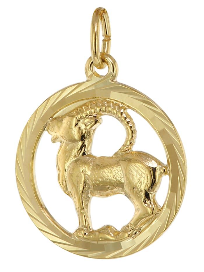 trendor Sternzeichen Steinbock 333 Gold Anhänger Ø 16 mm, Goldfarben