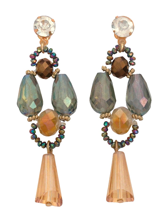 KLiNGEL Ohrringe mit Glassteinen, Gelbgoldfarben