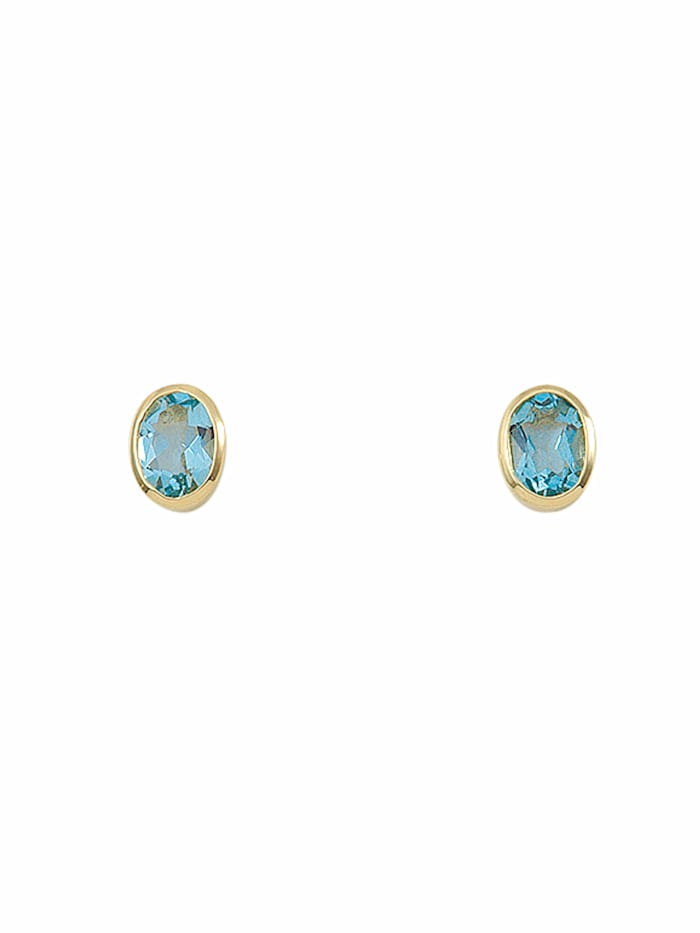 1001 Diamonds Damen Goldschmuck 585 Gold Ohrringe / Ohrstecker mit Aquamarin, blau