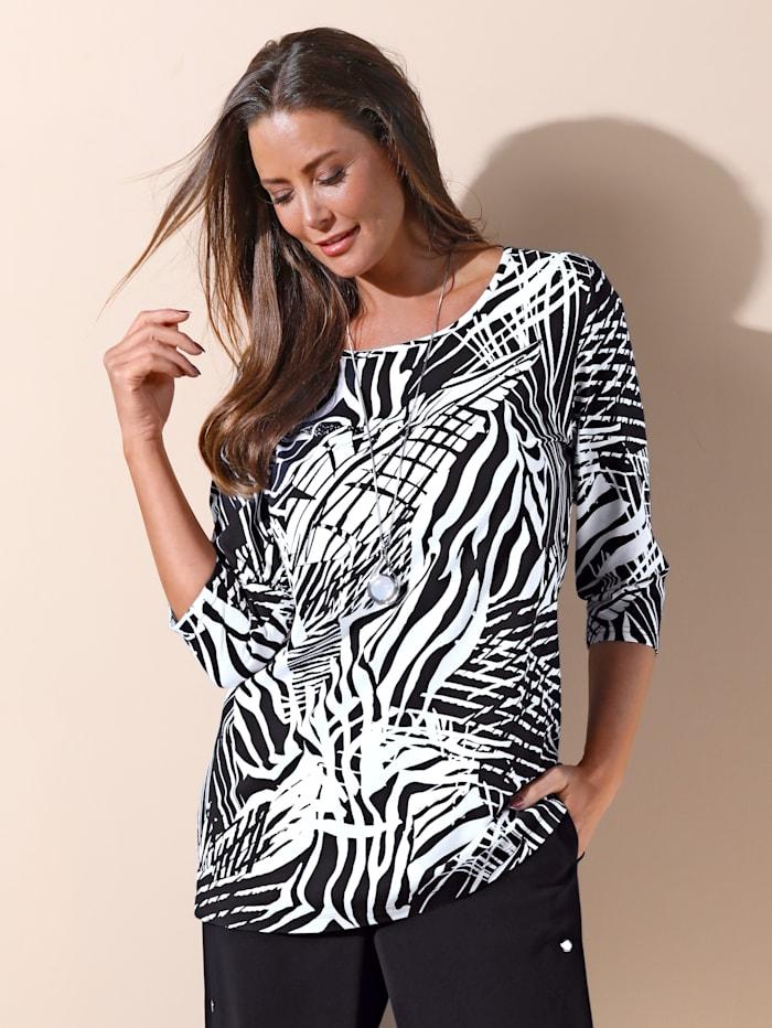 MIAMODA T-shirt à imprimé raffiné, Noir/Blanc