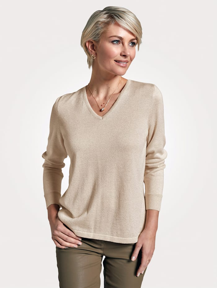 MONA Jumper with pleating, Beige/Gold-Coloured