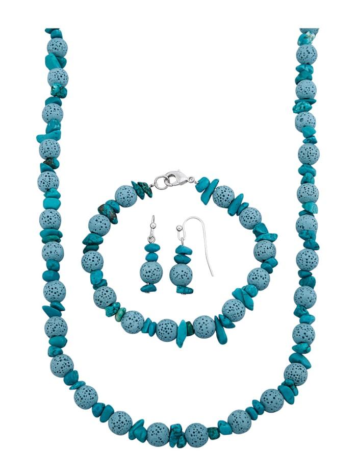 3-delige sieradenset van lavakralen en turkooischips, Turquoise
