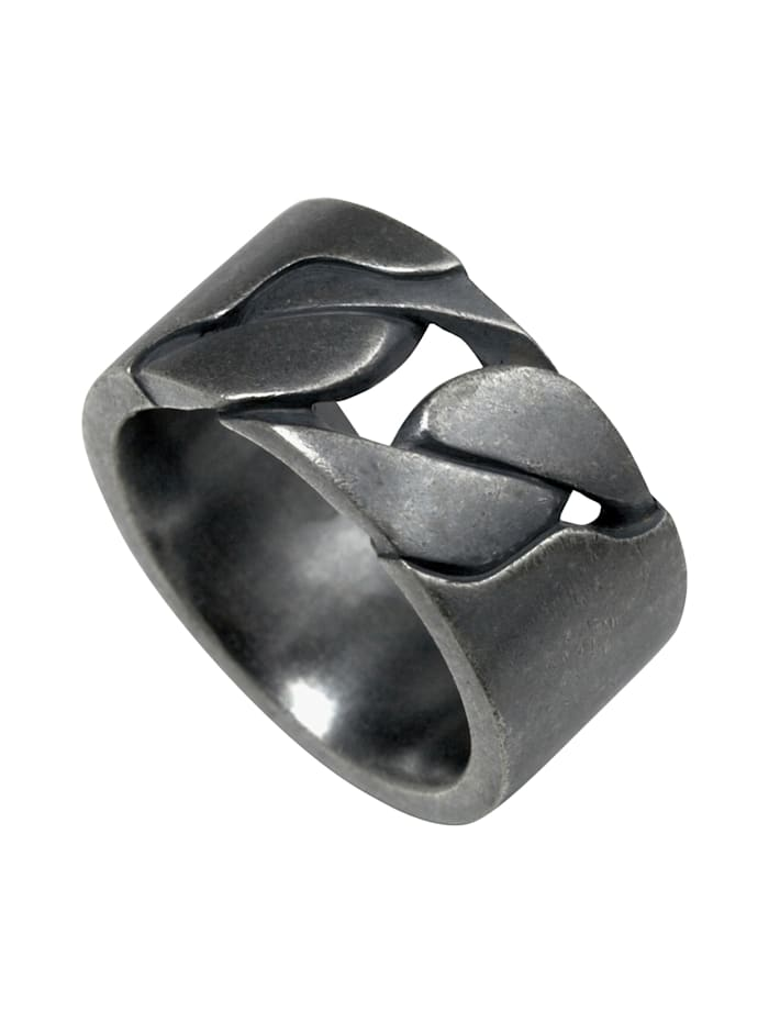 CAI Ring 925/- Sterling Silber ohne Stein Geschwärzt 925/- Sterling Silber, weiß