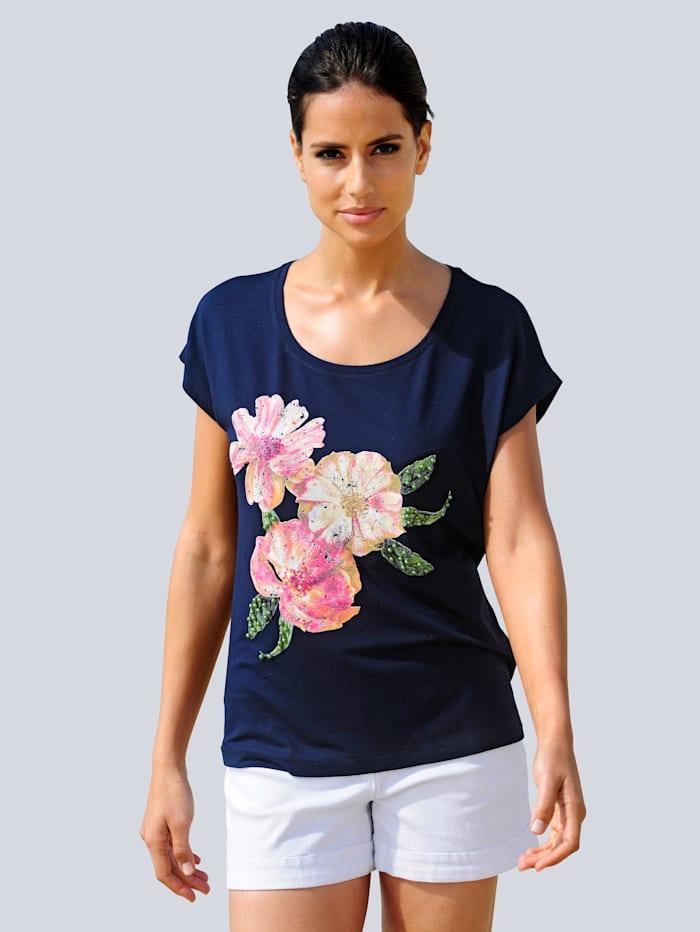 Alba Moda Strandshirt mit glitzernden Akzenten, Marineblau