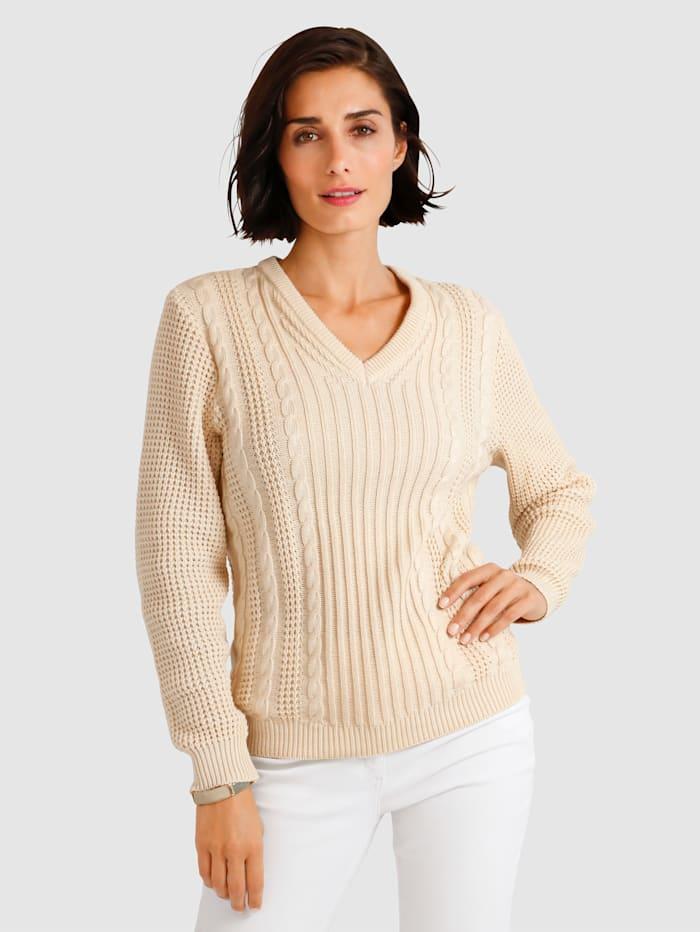 MONA Pullover mit Zopfmuster, Natur