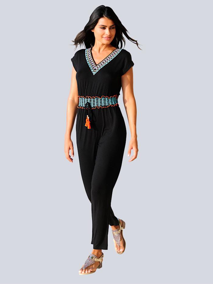 Alba Moda Jumpsuit met gekleurd borduursel, Zwart