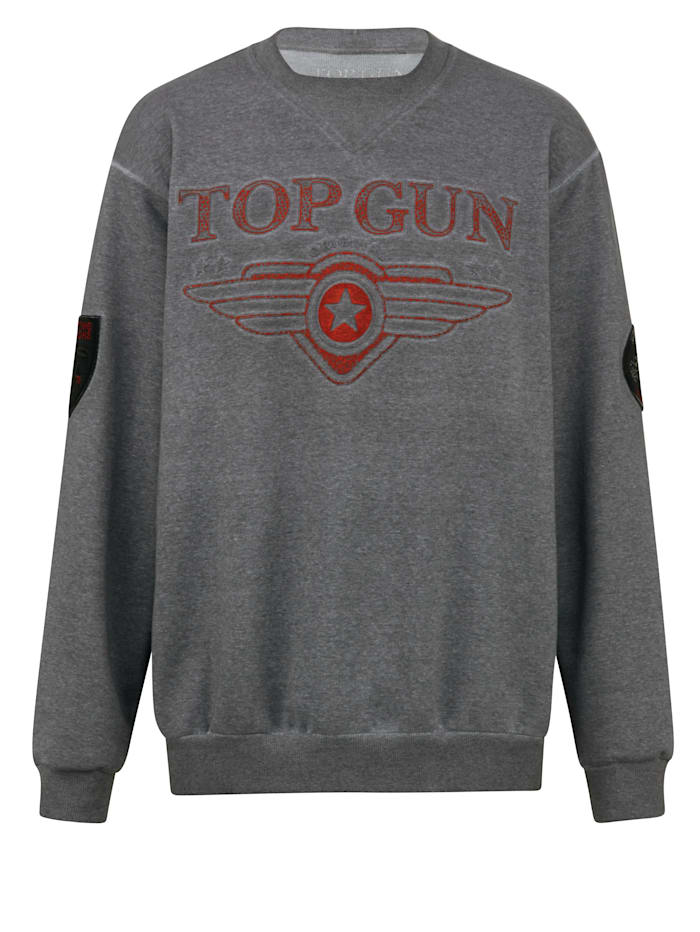 Top Gun Sweatshirt med präglad logotyp, Grå