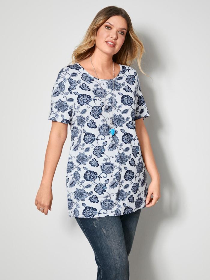 Janet & Joyce Shirt in A-Shape, Weiß/Blau