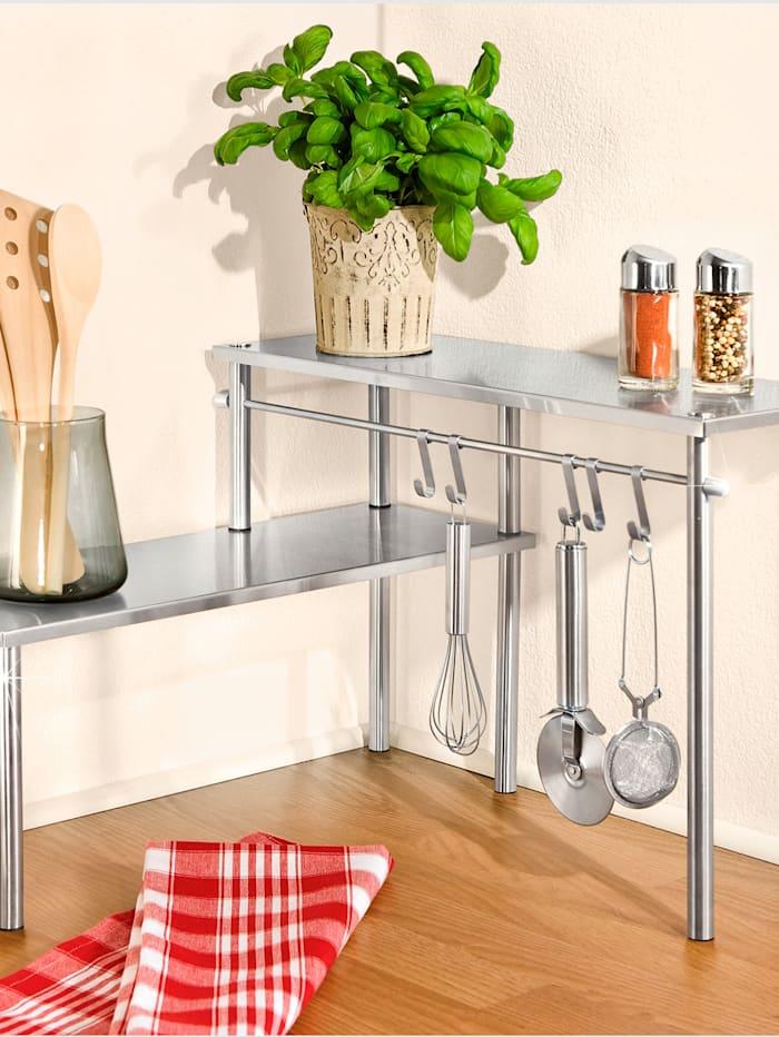 Wenko Küchen-Eckregal mit 2 Etagen, Silberfarben