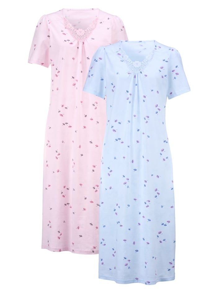 Harmony Nočná košeľa s jemným čipkovým motívom, Ružová/Modrá