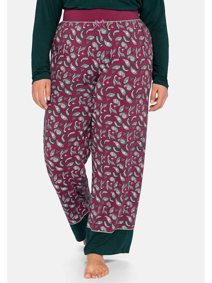 Sheego Schlafanzughose mit Paisleyprint und Kontrastsaum, beere bedruckt