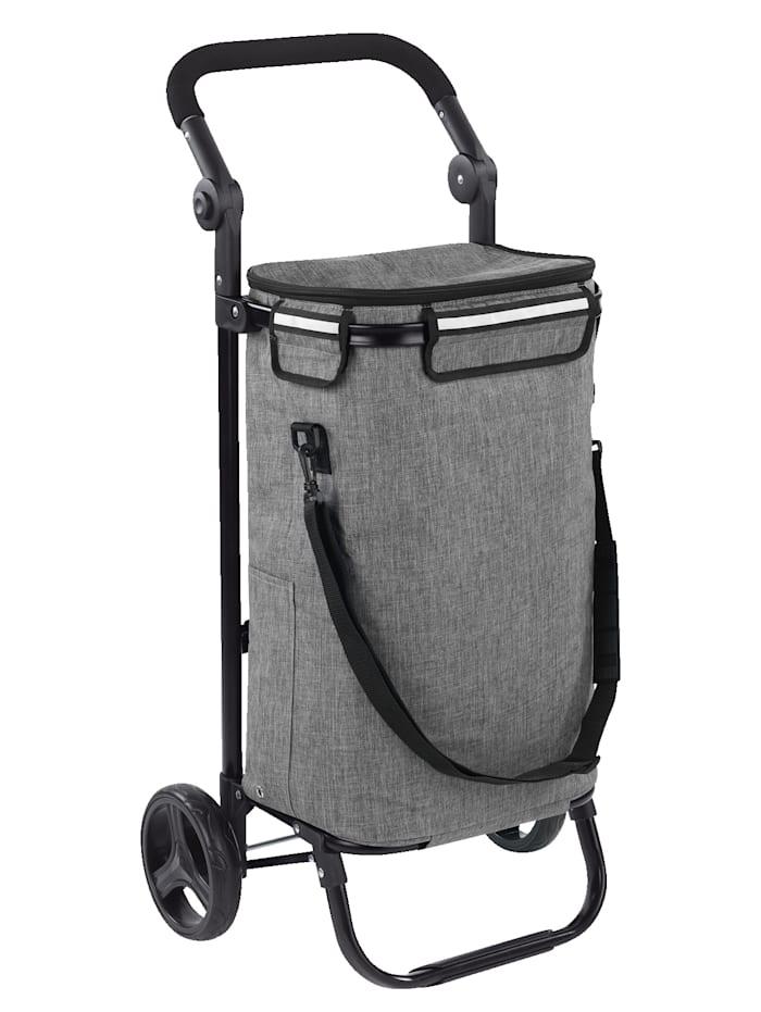 Einkaufstrolley 'Thermo & Comfort', integrierte Umhänge-Tasche, Hellgrau/Schwarz
