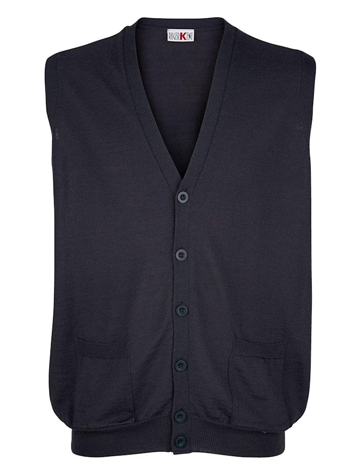 Roger Kent Strickweste mit praktischen Taschen, Marineblau